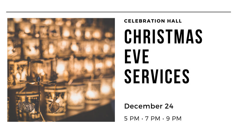 Christmas Eve Services, Dec. 22, 5 PM, 7 PM, & 9 PM at Trinity Heights UMC.